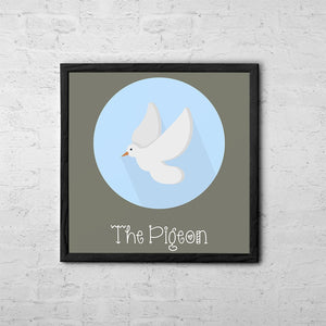 The Pigeon Cute Portrait - Baby Room Nursery Art Poster Print