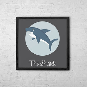 The Shark Cute Portrait - Baby Room Nursery Art Poster Print