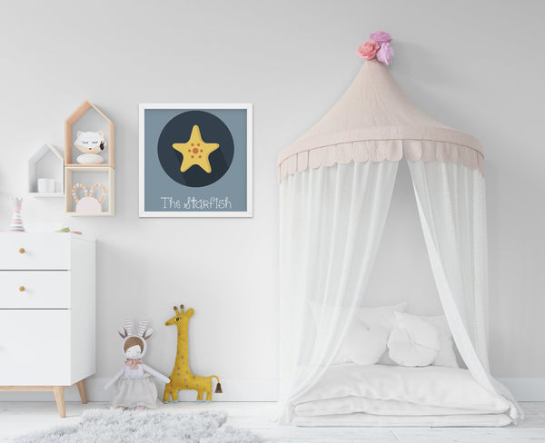 The Starfish Cute Portrait - Baby Room Nursery Art Poster Print