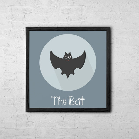 The Bat Cute Portrait - Baby Room Nursery Art Poster Print