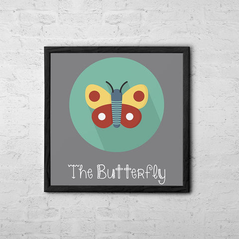 The Butterfly Cute Portrait - Baby Room Nursery Art Poster Print