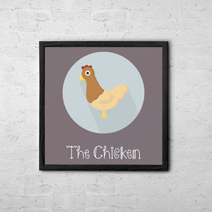 The Chicken Cute Portrait - Baby Room Nursery Art Poster Print