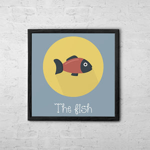 The Fish Cute Portrait - Baby Room Nursery Art Poster Print