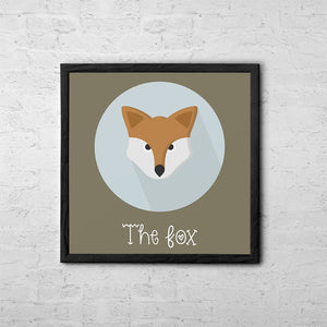 The Fox Cute Portrait - Baby Room Nursery Art Poster Print