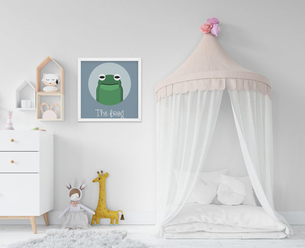 The Frog Cute Portrait - Baby Room Nursery Art Poster Print