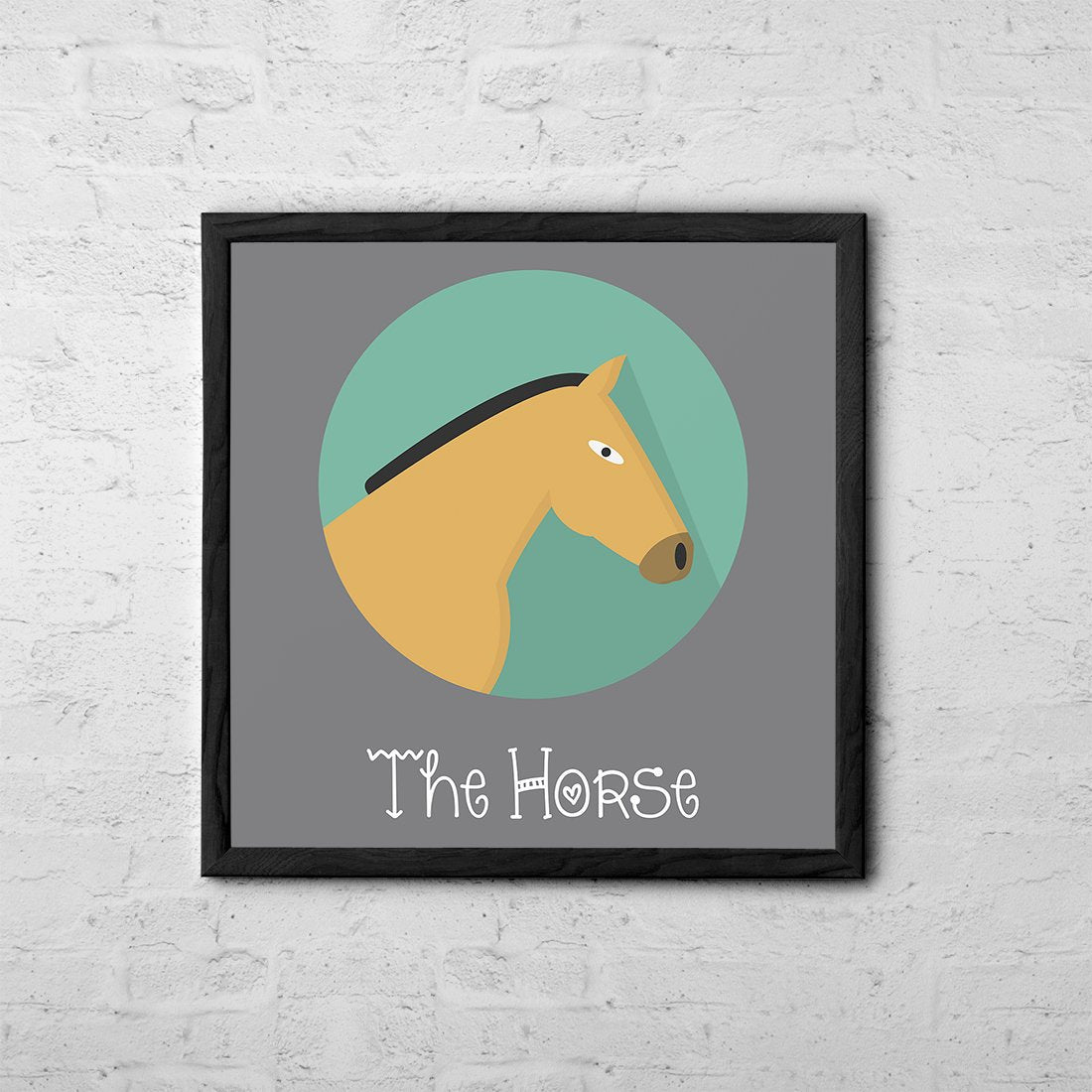 The Horse Cute Portrait - Baby Room Nursery Art Poster Print