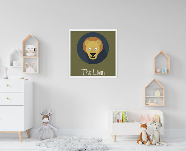 The Lion Cute Portrait - Baby Room Nursery Art Poster Print