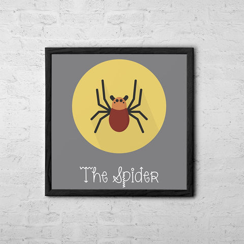 The Spider Cute Portrait - Baby Room Nursery Art Poster Print