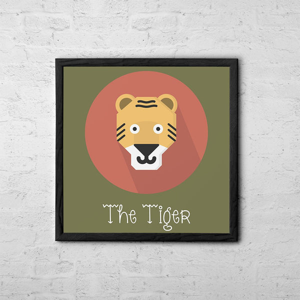 The Tiger Cute Portrait - Baby Room Nursery Art Poster Print