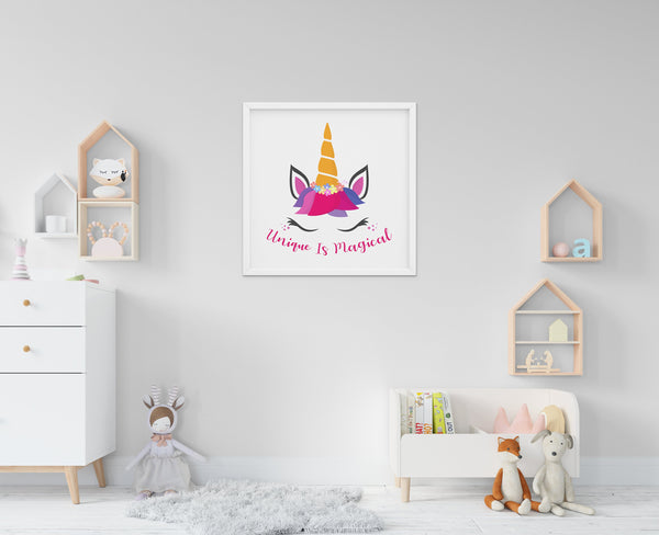 Unique Is Magical - Baby Room Nursery Art Poster Print