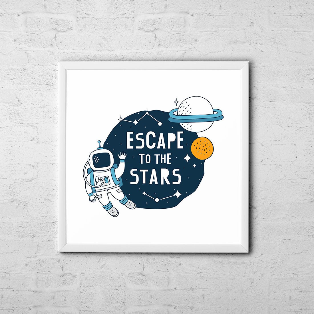 Escape To The Stars - Baby Room Nursery Art Poster Print