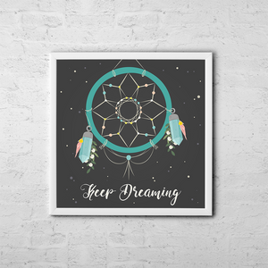 Keep Dreaming - Boho Chic Ethnic Nursery Art Poster Print