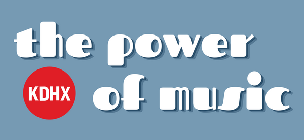 "An image of the design for the light blue sticker. ""The Power of Music"" is written in white, 70's-style retro bubble letters with a blue double shadow underneath each letter and a light blue background. The sentence wraps around the red circular KDHX logo in the lower left corner."