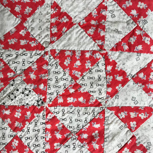 Hand Pieced quilt in red and white fabrics
