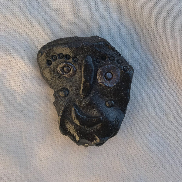 Ancient Face ceramic pin #9