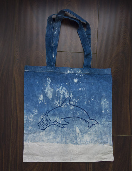 Dolphin Love shibori dyed shopping bag