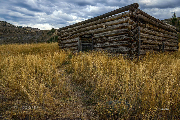 A square log structure without a roof is surrounded by bright yellow grass and barren rolling hills and a dark, cloudy sky.