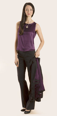 Gurjot New York : Shop the Look : Charcoal with Purple Lining