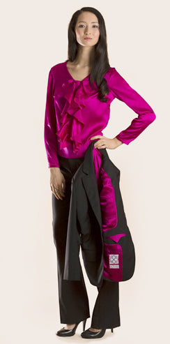 Gurjot New York : Shop the Look : Black with Fuchsia Lining