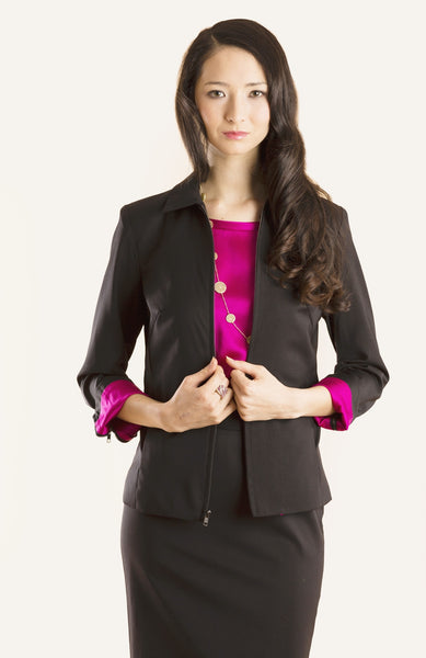 Black with Fuchsia Lining  forever06  J003-W01-S04_Black_Fuchsia_Zip_07