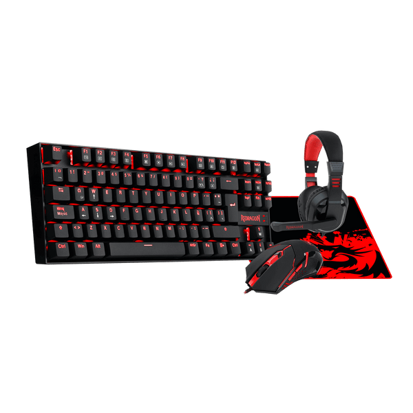 Kit ( Teclado + Padmouse + Mouse + Audifonos ) Gaming Essentials Redragon K552BB