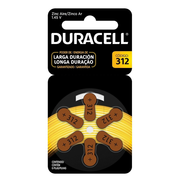 Pilas 312 Duracell pack 6 unidades