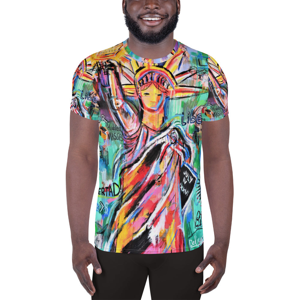 La Liberte - All-Over Print Men's Athletic T-shirt