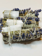 Load image into Gallery viewer, Sage and Lavender Smudge Stick w/ Selenite