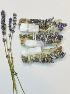 Sage and Lavender Smudge Stick w/ Selenite