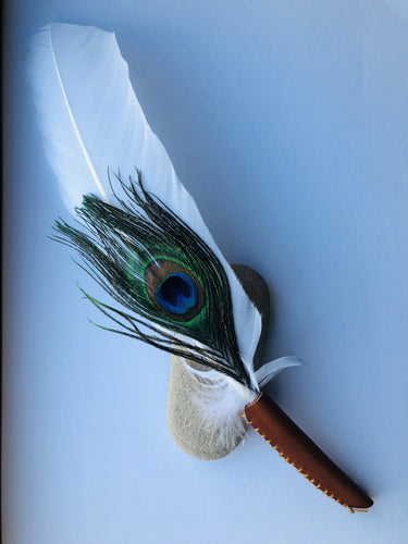 White Turkey Smudge Feather