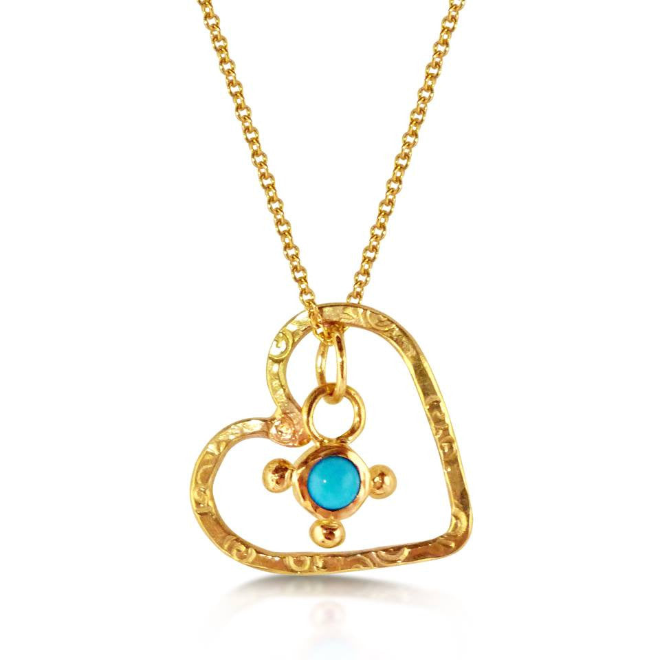 22k Mini Stellar & Open Floating Heart Necklace
