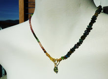 Watermelon Tourmaline Necklace with 22k Gold