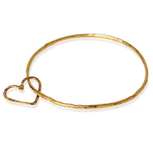 "Gold ""Open Floating Heart"" Bangle"