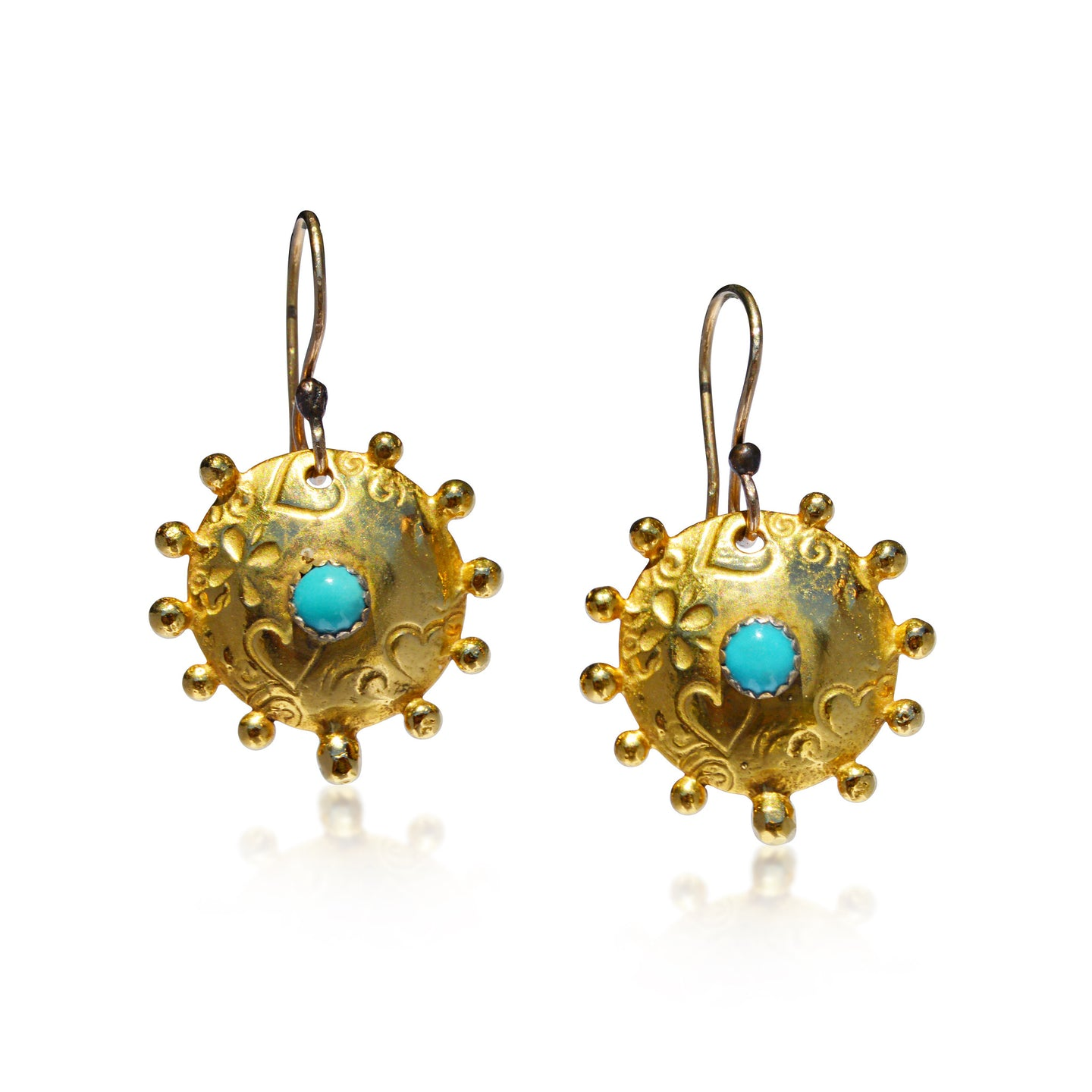 Golden Gilded Athena's Shield Earrings