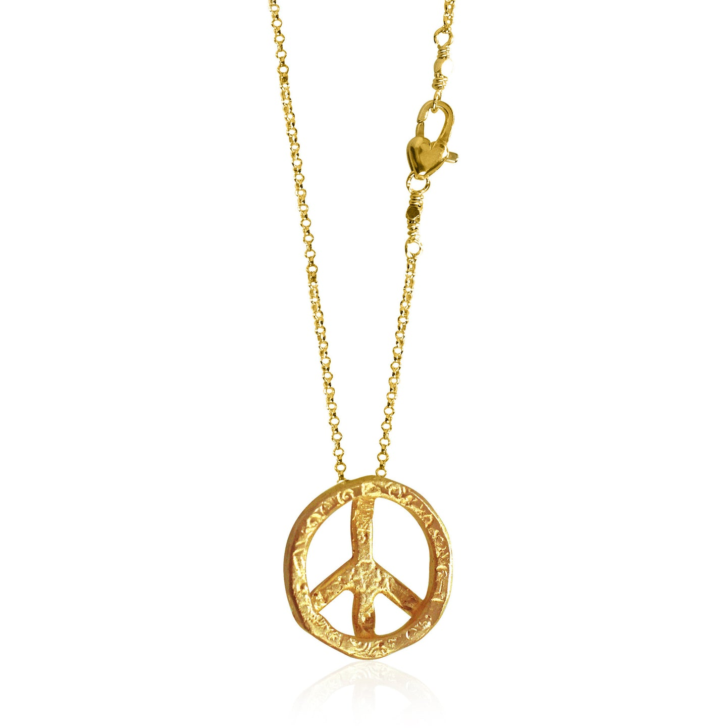 Antiqued Gold Peace Sign Necklace