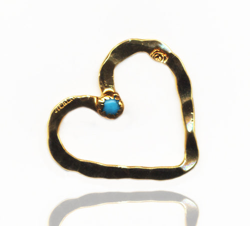 Gold & Turquoise Open Floating Heart Pendant