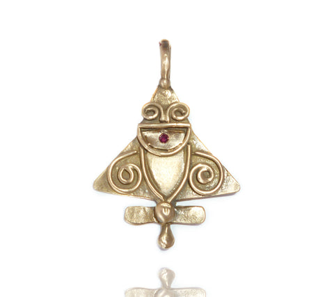 Ancient Alien Pendant with Ruby