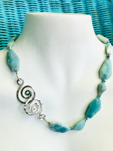Amazonite, Crystal & Sterling Necklace