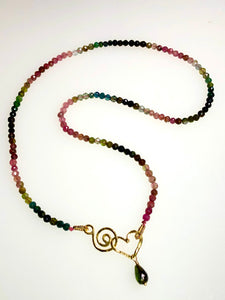 Watermelon Tourmaline & 22k Gold Necklace