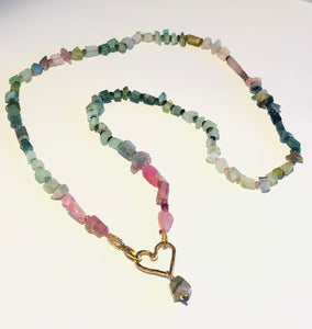 Watermelon Tourmaline with Golden Open Floating Heart Necklace
