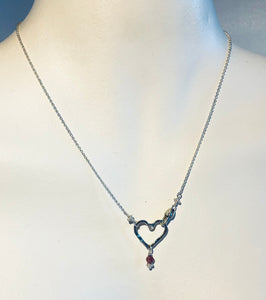 Sterling Mini Open Floating Heart with Pink Tourmaline