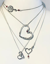 Hefty Open Floating Heart in sterling silver with Rhodolite Garnet & Rubies