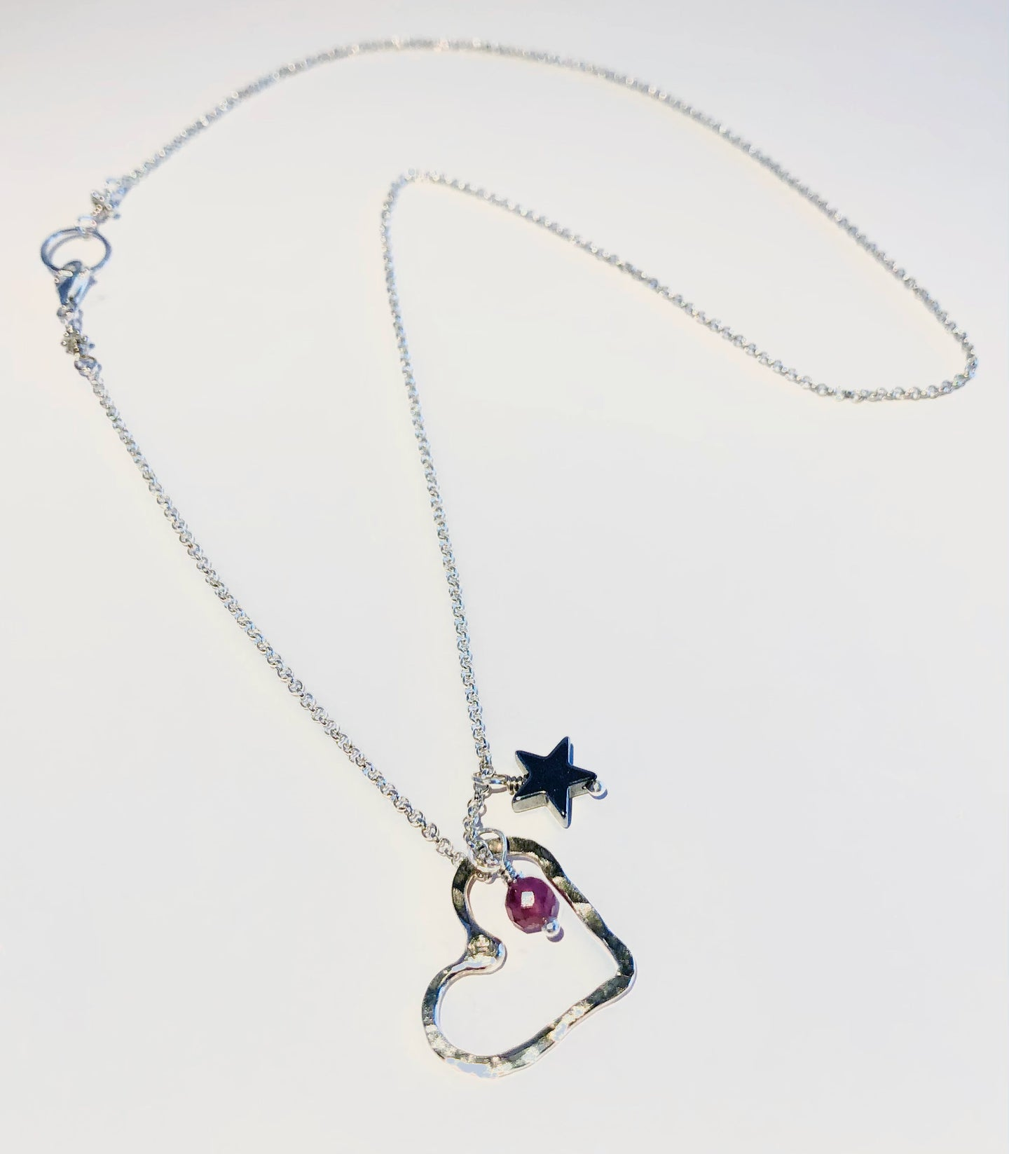 Sterling Open Floating Heart Mini with Pink Tourmaline & Hematite Star