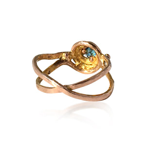 "Blue Diamond & Gold  ""Daughter of Poseidon"" Custom Made Ring"