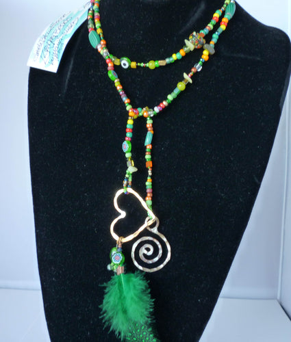 Love Bead Lariat in Green