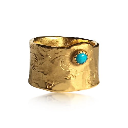 Gilded Nature Symbols Ring with Turquoise
