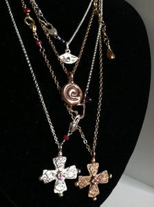 Sterling Four Corners Byzantine Cross with Ruby