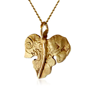 "Fig Leaf ""Siko"" Necklace in Ancient Bronze"