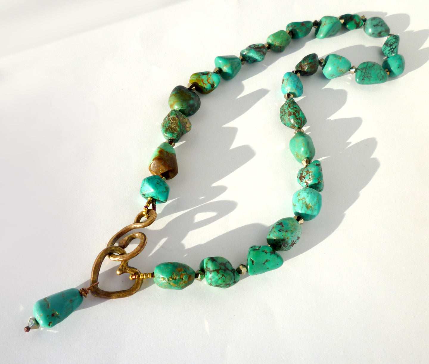 Turquoise & Swarovski Crystal Necklace with Ancient Bronze Maria-Tina Signature Clasp