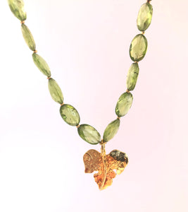 Golden Fig Leaf & Peridot Necklace